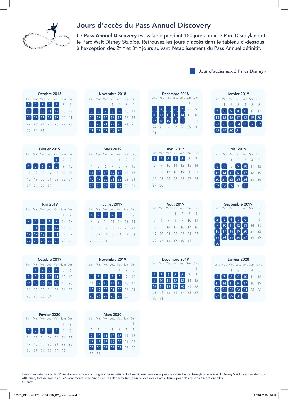 Calendrier Pass Disney.Les Jours De Restrictions Jusqu A Mars 2020 Des Pass Annuels